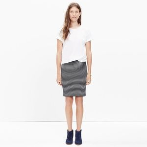 Madewell City Mini Skirt in Stripe Black White XS